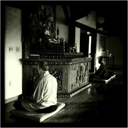 2016 Winter kyol che - Providence Zen Center - Retreat Center - Diamond Hill Monastery - Meditation Retreat - Photo c/o Arunas Kulikauskas - Monestary B&W sitting